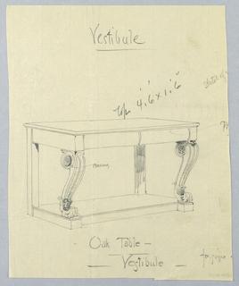 Drawing, Design for Oak Vestibule Console Table