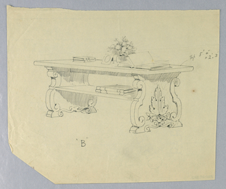 """Drawing, Design for Elaborate Library Table """"B"""" with Carved, Solid, Scrolling Sides, 1900–05"""