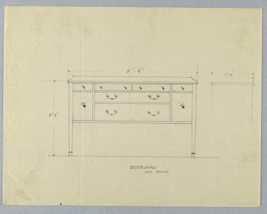 Elevation view: rectangular sideboard with backsplash and 4 straight tapering legs [2 shown]; 2 large horizontal drawers center front, flanked by 2 doors and topped by 4 small conforming drawers extending across entire front. Side view: rectangular silhouette.