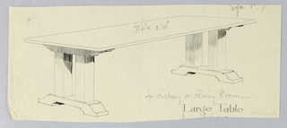 Drawing, Design for Library or Livingroom Table with Four Columnar Legs on Two Narrow Platforms, 1900–05
