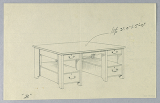 """Drawing, Design for Massive Library Table """"B"""" with Plain Plank Legs, 1900–05"""