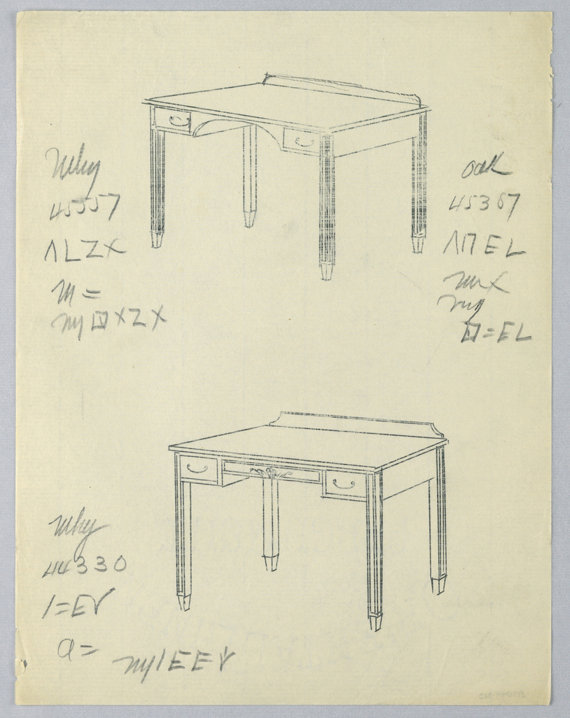 Drawing, Tracings of Designs for Rectangular Writing Table #s 45557 and 44330, with Oak Variant Number