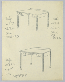Drawing, Tracings of Designs for Rectangular Writing Table #s 45557 and 44330, with Oak Variant Number, 1900–05