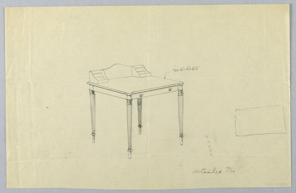 Drawing, Design for Rectangular Writing Table with Sketch of Top View