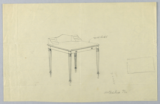 Drawing, Design for Rectangular Writing Table with Sketch of Top View, 1900–05