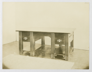 "Photograph, Photograph of Massive Library Table Labeled ""83"", 1900–05"
