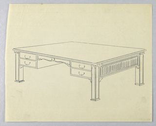Drawing, Design for Library Table with Square Columnar Legs and Four Drawers, 1900–05