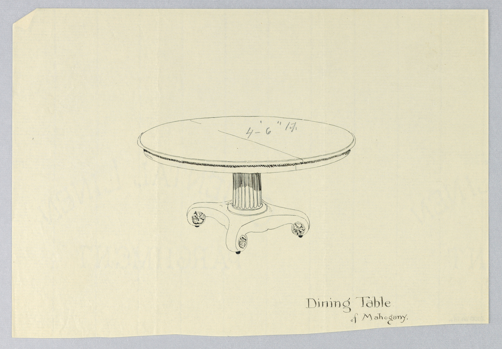 Drawing, Design for Dining Table of Mahogany with Scroll-Like Feet, 1900–05