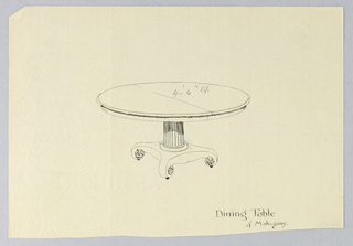 Drawing, Design for Dining Table of Mahogany with Scroll-Like Feet