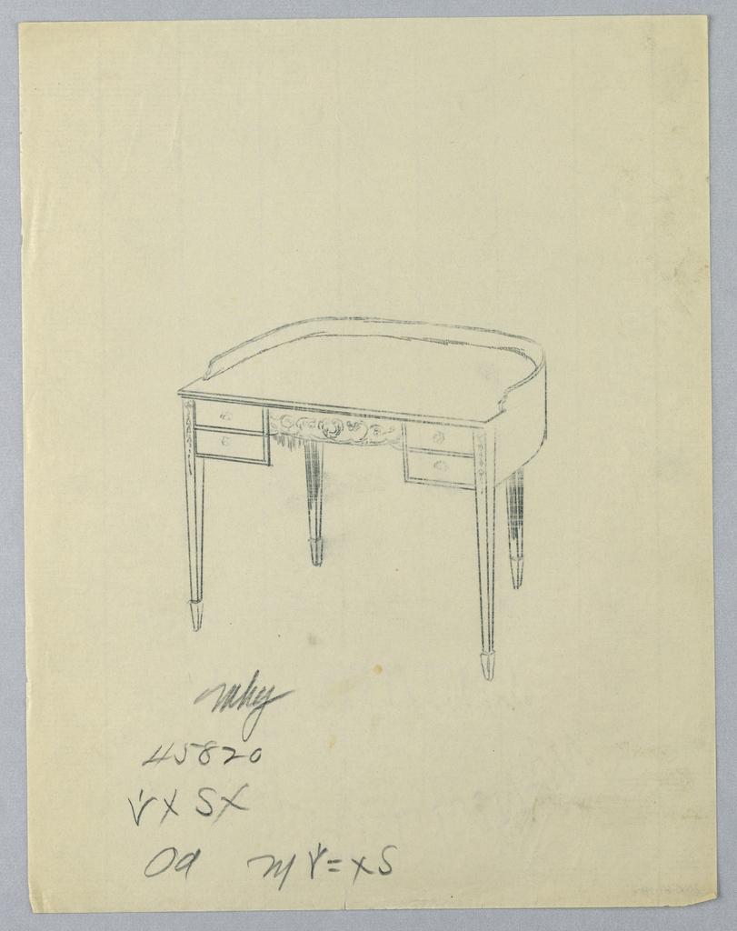 Drawing, Tracing of Design for Semi-Circulart Writing Table #45820