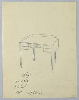 Drawing, Tracing of Design for Semi-Circulart Writing Table #45820, 1900–05