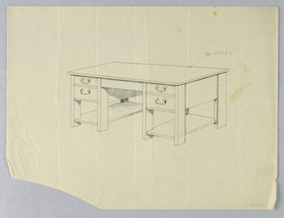 Drawing, Design for Plain Massive Library Table, 1900–05