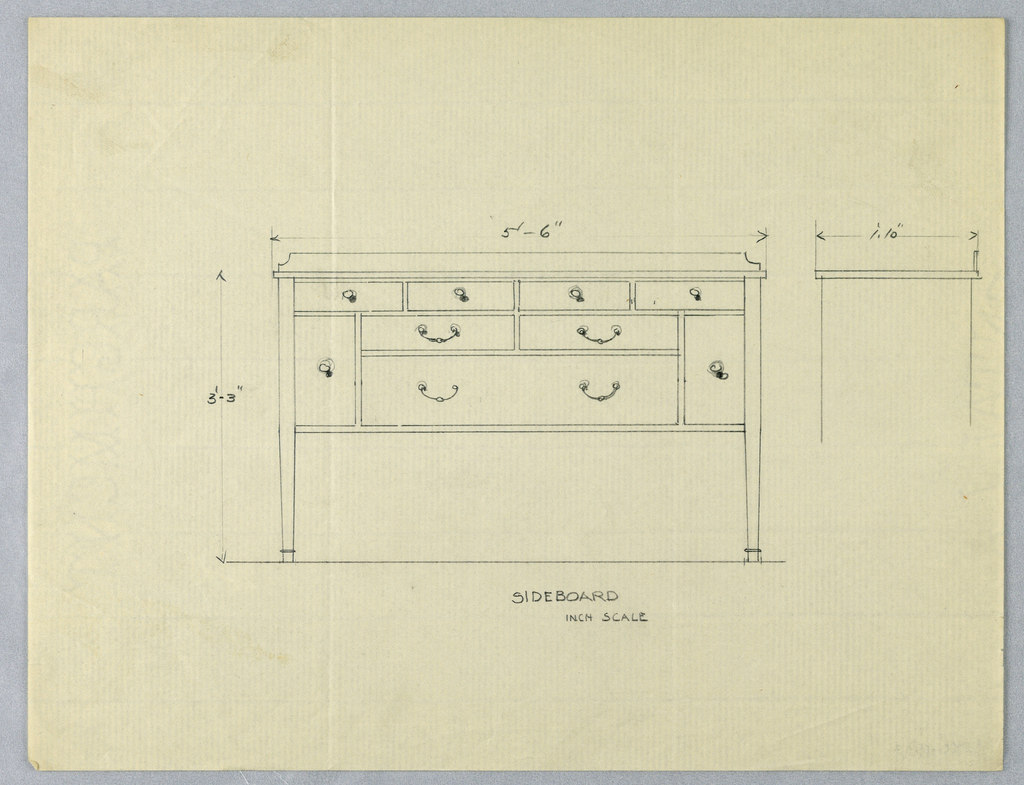 Rectangular sideboard with four straight tapering legs; at top, four small drawers across entire front; below these at center only, two larger drawers side-by-side, and below them a single very large drawer; the latter three drawers flanked by a single cabinet door on each side; slight sketch at right of side view indicating depth of sideboard top.