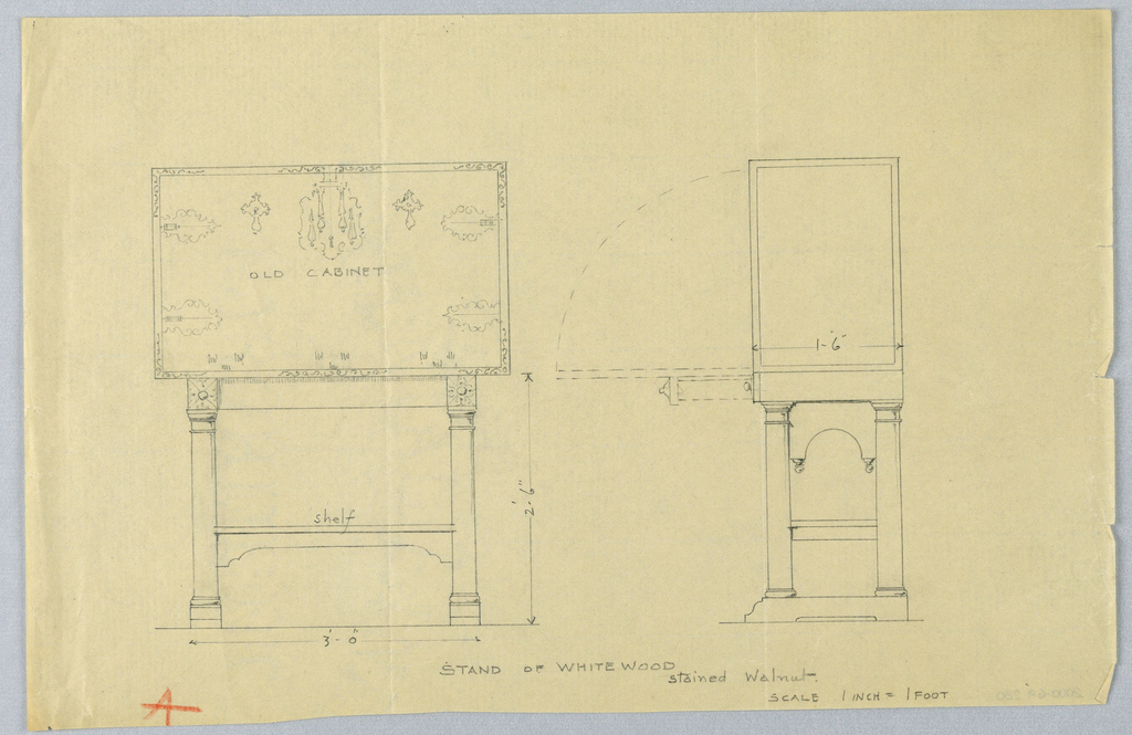 Elevation left and side view right; rectangular cabinet with elaborate stylized metalwork on front panel; pair of hinged plates surround keyhole escutcheon center; raised on columnar, slightly flaring supports joined below by shelf-like stretcher; side view shows cabinet standing on 2 bracket-shaped platforms joined above by molded panel with arch-like cut-out center.