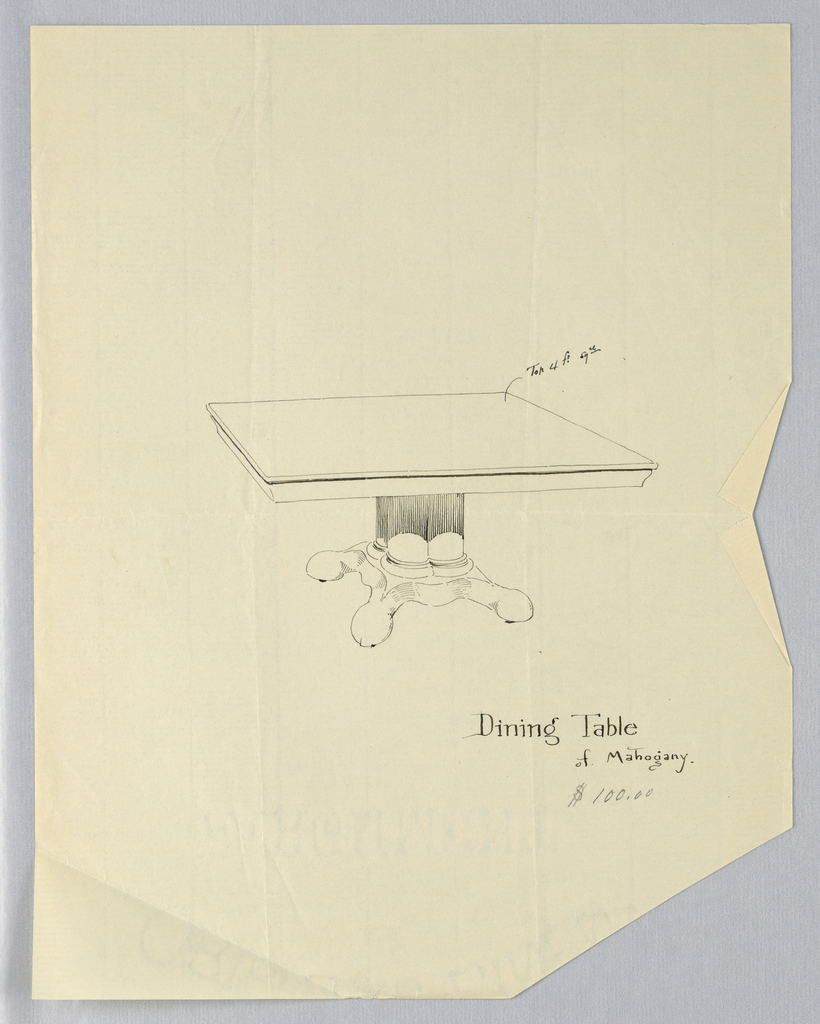 Drawing, Design for Rectangular Dinign Table of Mahogany, 1900–05