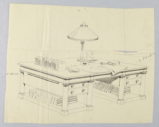 Drawing, Design for Massive Library Table with Ionic Supports and Books on Shelves, 1900–05