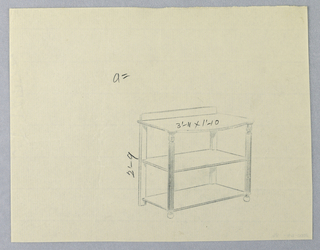 Oblong top with convex front; raised on 4 straight legs; reeded front legs terminate in balls, which are decorated at tops with short carved baluster-like elements; 2 rectangular shelves attach below, the lower one just above floor level; backsplash.