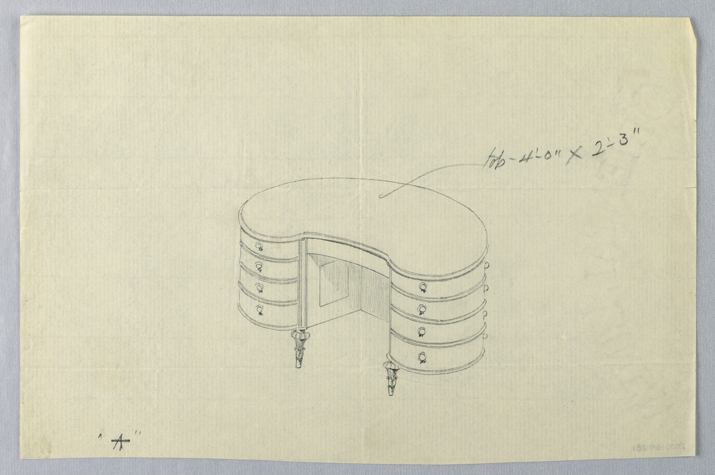 """Drawing, Design for Kidney-Shaped Writing Table """"A"""" with Eight Drawers"""