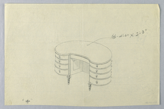 "Drawing, Design for Kidney-Shaped Writing Table ""A"" with Eight Drawers, 1900–05"