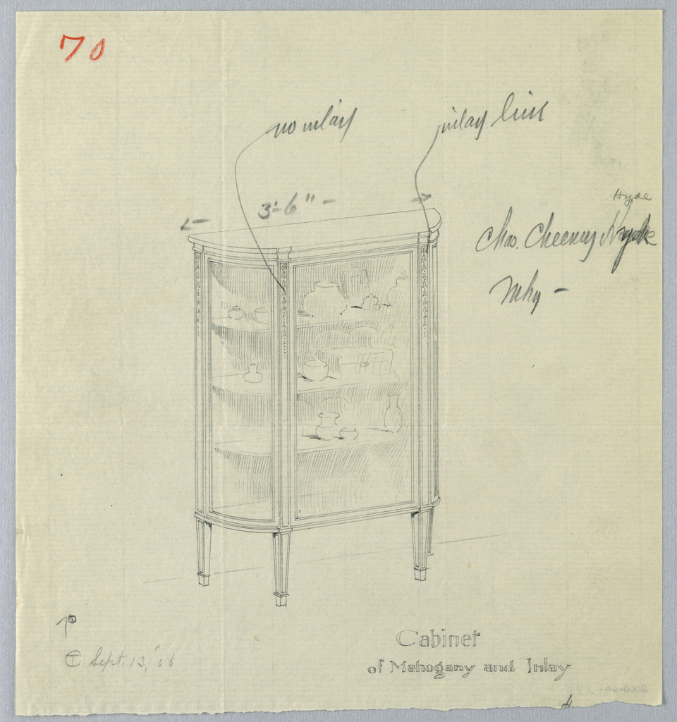 Demi-lune-shaped glass cabinet with flattened center front; molding along top edge; 3 shelves holding china pieces; raised on 4 short tapering legs.