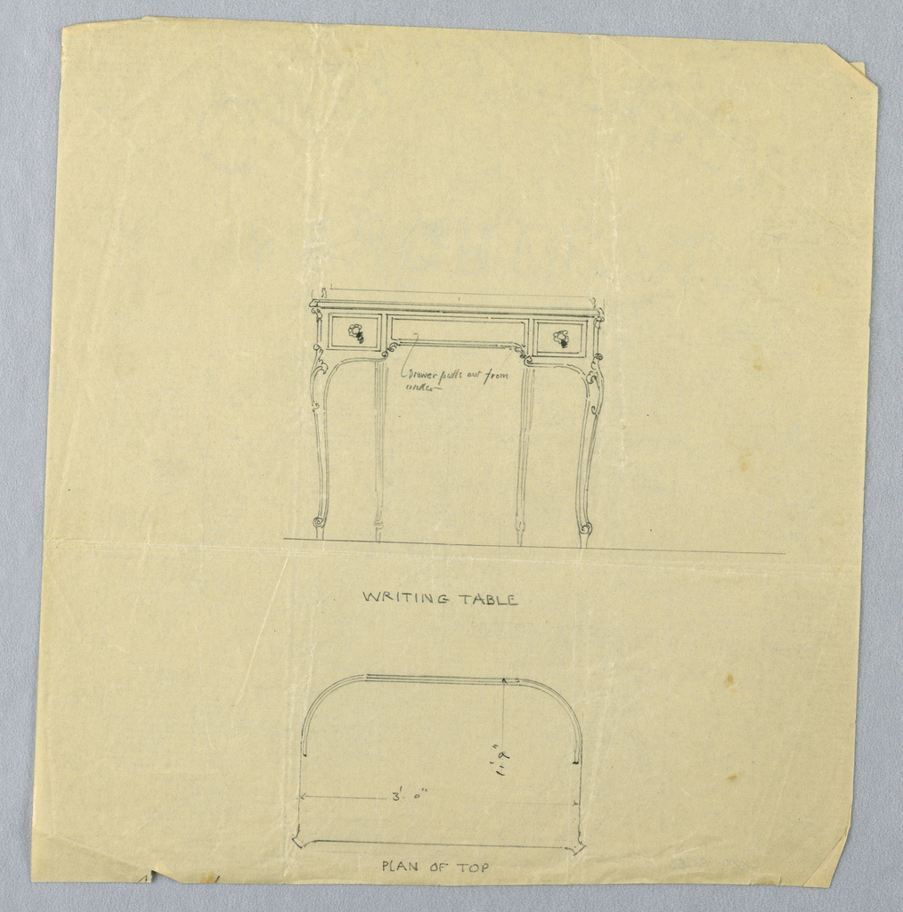Drawing, Design for Writing Table with Semi-Circular Back in Elevation and Plan