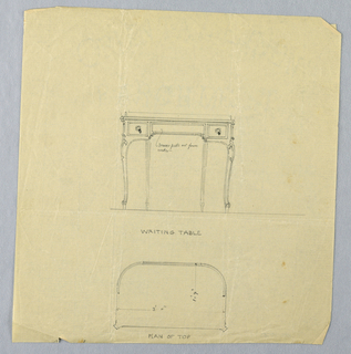 Drawing, Design for Writing Table with Semi-Circular Back in Elevation and Plan, 1900–05