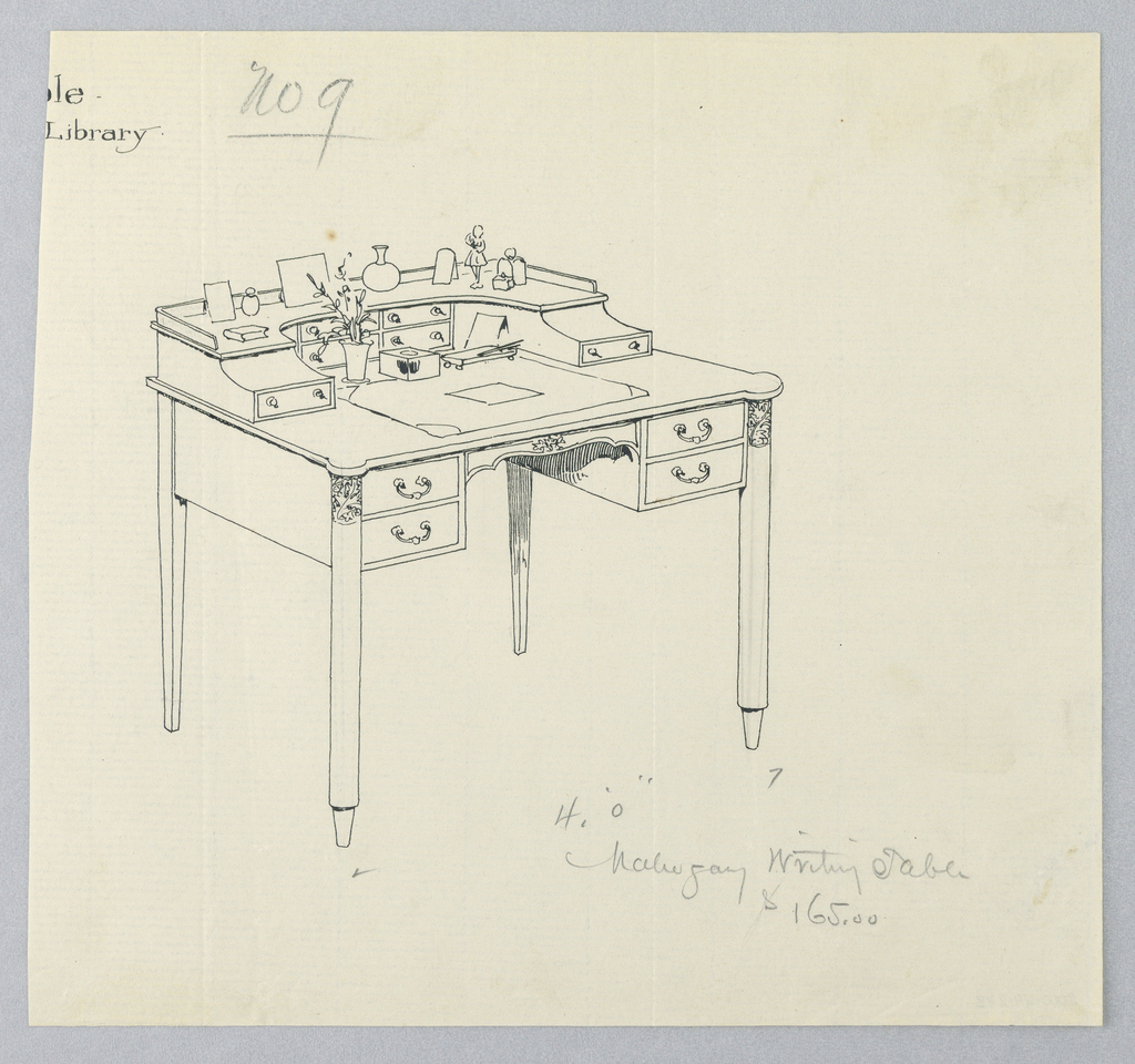Drawing, Design for Hallway Writing Table No. 9