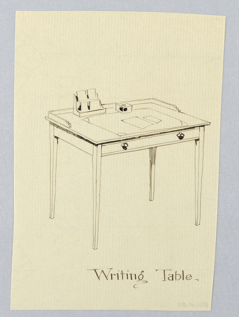 Drawing, Design for Simple Rectangular Writing Table with Wrap-Around Backsplash