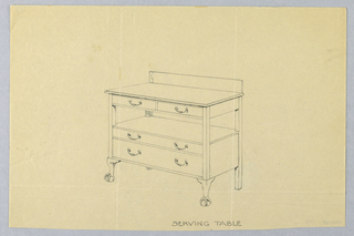 Rectangular top with two-drawer unit and back splash above two drawers supported by ball-and-claw feet at front.