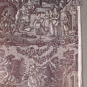 Seven allegorical scenes, architecture, trees, floral motifs. Printed in mauve.