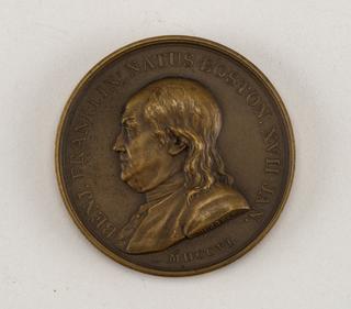 Medal commemorating Benjamin Franklin.