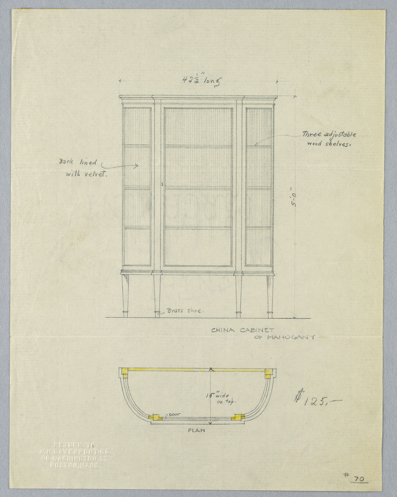 Drawing, Design for China Cabinet of Mahogany in Elevation and Plan