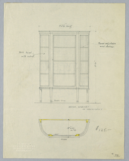 Elevation: rectangular tri-partite front with glass door and 3 shelves raised on 4 straight tapering legs.  Plan: semi-circular cabinet top with flattened central front with details indicated in yellow color pencil.