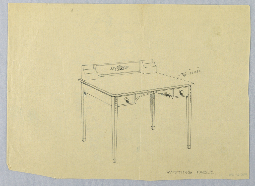 Drawing, Design for Rectangular Writing Table with Carved Shell Decoration on Backboard