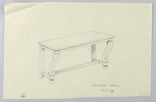 """Drawing, Design for Console Table """"A"""" with Beaded Edge"""