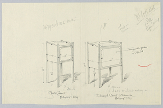 Two identical cabinet designs, one slightly larger: small rectangular cabinet with molded front door panel and molded back and side borders, the latter having oval hole on either side for carrying; raised on 4 straight reeded legs.