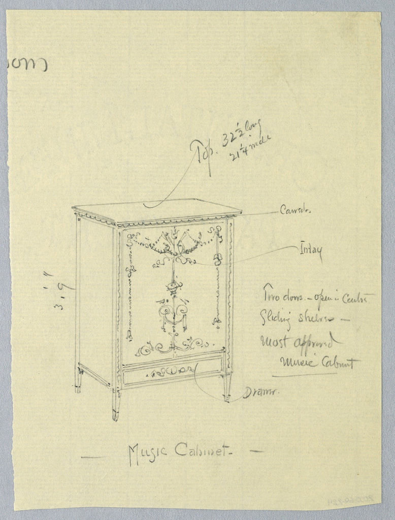 Rectangular body with front panel and lower shelf inlaid with neo-classical ornament; raised on 4 short, tapering legs.