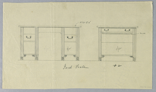 Drawing, Design for Massive Library Table in Two Views with Inch Scale, 1900–05