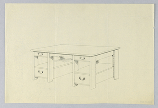 Drawing, Design for Massive Library Table with Plank Legs Decorated Along Edges, 1900–05