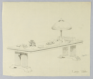 Drawing, Design for Large Table with Solid Arched Sides on Narrow Platforms with Cane Decoration, 1900–05