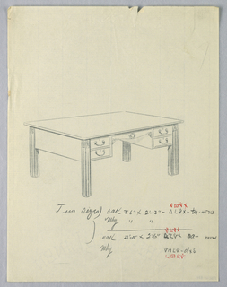Drawing, Design for Library Table with Four Small Drawers and Squared Columnar Legs, 1900–05