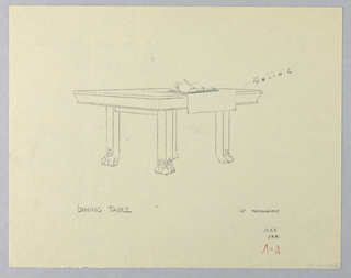 Drawing, Design for Dining Table of Mahogany with Animal Paw Feet, 1900–05
