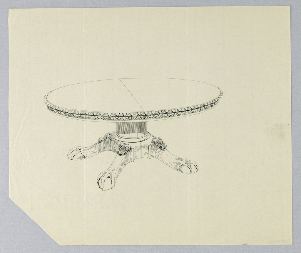 Drawing, Design for Round Table on Ball-and-Claw Feet, 1900–05