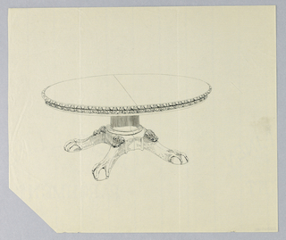 Drawing, Design for Round Table on Ball-and-Claw Feet