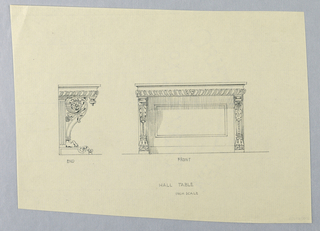 Drawing, Design for Hall Table Supports with Carved Leaf Motifs