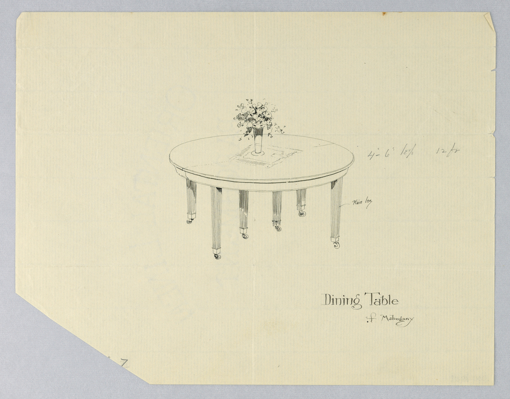 Round molded top with a dividing stretcher running across center, is raised on six plain slightly tapering legs, one pair on either side and one pair at center.  Vase with a flower bouquet on a napkin is at center.
