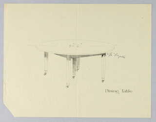 Drawing, Design for Five-Legged Round Dining Table, 1900–05