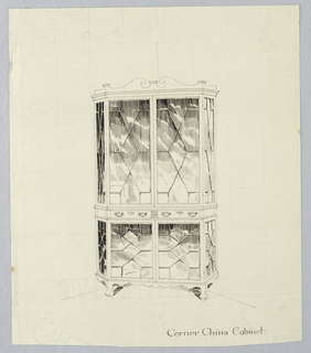 Tall, rectangular cabinet slightly flaring at back; glass panels in imitation of Chinese fretwork; pair of horizontal drawers separated by patera medallion; broken, molded, scroll-like pediments atop cabinet; molded skirting below cabinet; short, molded feet.