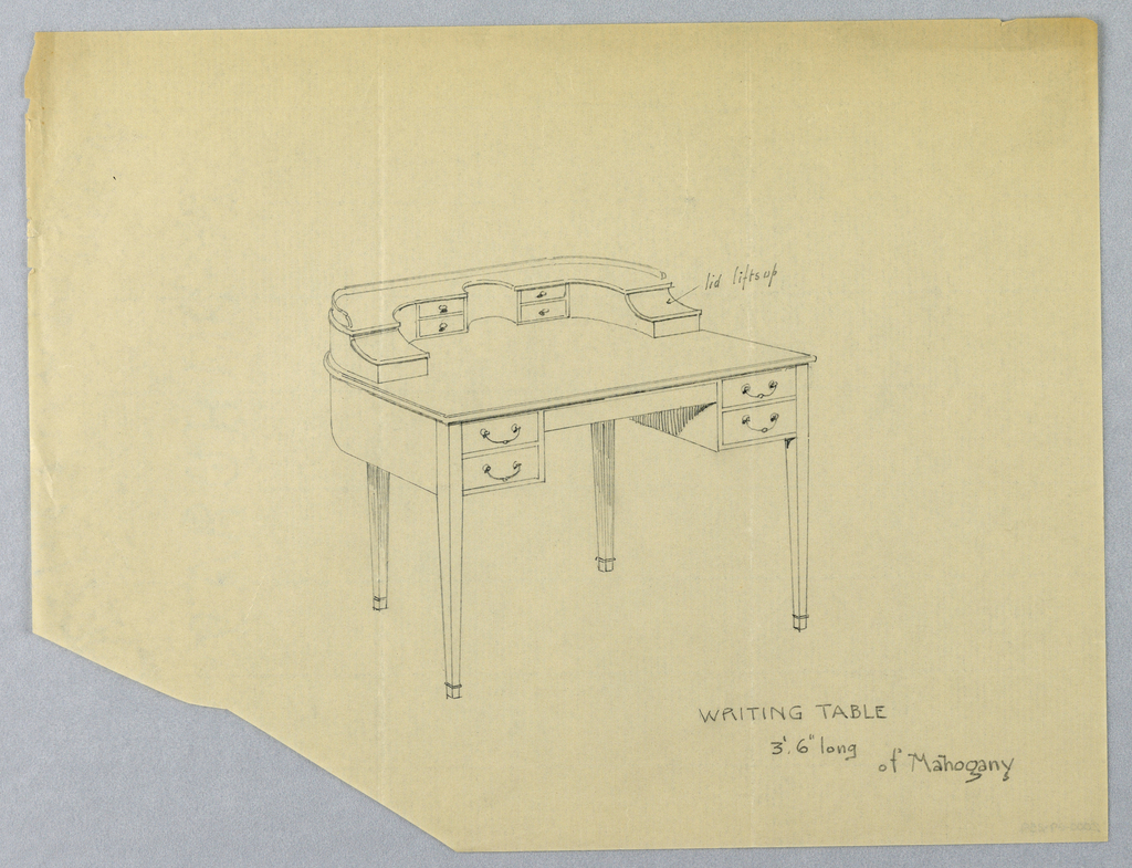 Drawing, Design for Writing Table with Lidded Compartments
