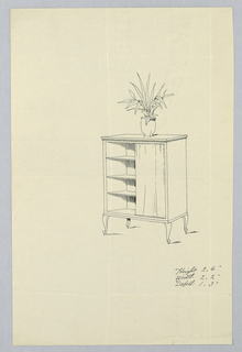 Rectangular cabinet with molded top and open front, raised on 4 scroll-like legs; three inside shelves, partly hidden behind curtain at right; potted plant atop cabinet.